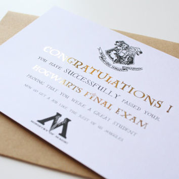 Graduation card Harry Potter Card Hogwarts - Congratulations on your graduation