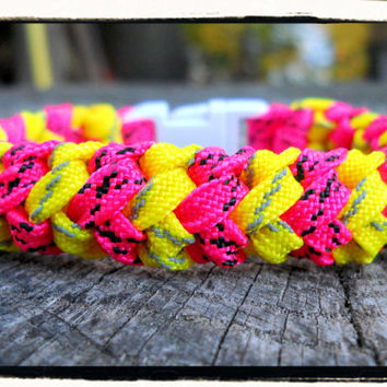 Yellow Reflective and Pink Bracelet
