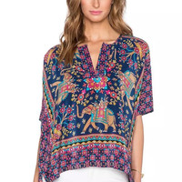 Floral Print V-Neck Short-Sleeve Shirt With Side Slit
