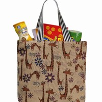 ZLYC Fashion Casual Shopper Canvas Reusable Shopping Grocery Hand Bag Tote, Giraffe Print