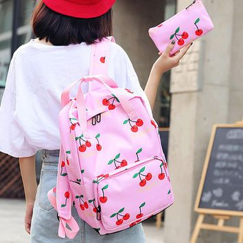 2PCS Cherry Women Backpacks Fruits Printing Book Bags Preppy Style Coconut School Bags for Teenage Girls Composite Backpack Sets