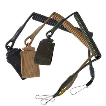 Tactical Telescopic Sling Lanyard Pistol Spring Sling with Belt Buckle Flashlight Safety Rope Retractable Plastic Spiral Rope