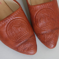 70s CAMEL Slip On Shoes - Vintage 1970s EMBOSSED LEATHER Flats - size 6 / 6.5 / 37