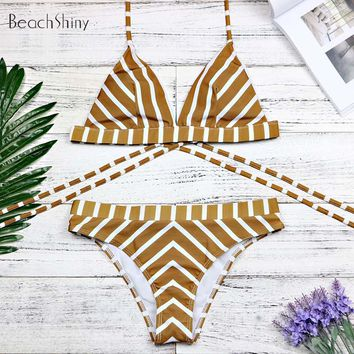 2018 Sexy Swimwear Bandage swimsuit Bikinis Set Biquini Brazilian bikini women Swimwear Female Striped print swimsuit 3194