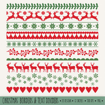 SALE - 50% OFF. Christmas Borders Clip Art. Red and Green Digital Ribbons Clipart. Winter Holiday Snowflake Text Dividers. Reindeer Clipart.