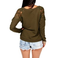 Pre-Order Olive Crochet Shoulder Sweater