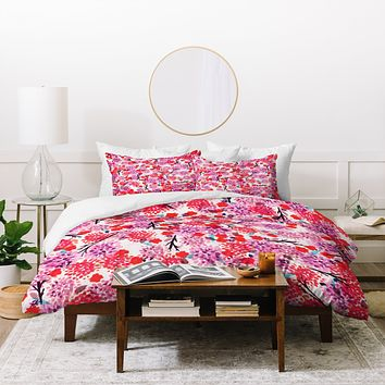 Joy Laforme Floral Forest Red Duvet Cover