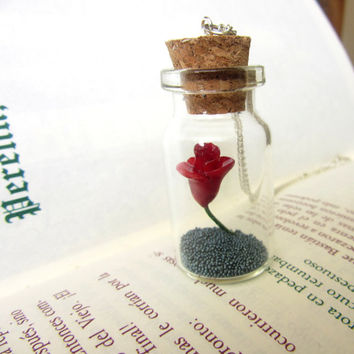 Beauty and the Beast DISNEY Rose in a Bottle Pendant/ Necklace/ vial necklace/ Red rose in a bottle