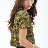 FOREVER 21 Camo Crop Top Green/Olive Small