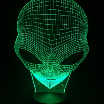 Alien Head Bust 3D Optical Illusion Lamp