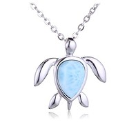Sterling Silver Larimar Sea Turtle Pendant(Chain Sold Separately)
