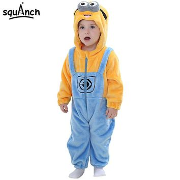 Minions Kigurumi Onesuit Baby Boy Girl Good Quality Flannel Pajama Winter Sleepwear Child Kid Funny Cartoon Anime Party Game Suit