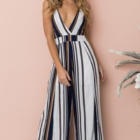 Resort Glamour White Black Vertical Stripe Pattern Sleeveless Spaghetti Strap V Neck Cut Out Back Loose Wide Leg Jumpsuit - Sold Out