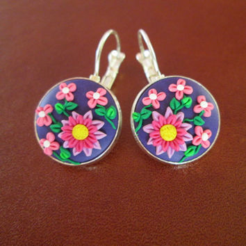 purple floral earrings,purple dangle earrings,polymer clay earrings,READY TO SHIP jewelry,gift ideas for mom,cameo earrings,colorful earring