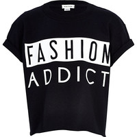 Girls black gloss fashion addict t-shirt - t-shirts - t-shirts / tanks / tops - girls