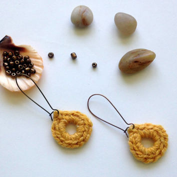 Shabby Chic, Boho Circle Earrings in Mustard Yellow, Fiber Jewelry, Hand Knitted Fabric Accessories, Small Hoop Earrings, Wool Yarn Hoops