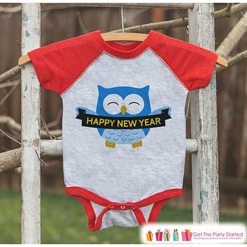 Happy New Year Owl Outfit - New Years Eve Onepiece or Shirt - New Year Outfit for Baby or Toddler - Kids Red Baseball Tee - Red Raglan
