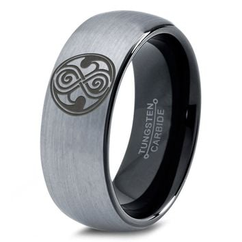 Dr Who Gallifreyan Brushed Dome Cut Tungsten