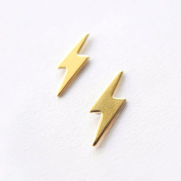 Lightning Bolt Earring Studs with Sterling Silver Posts - Thunder Autumn Fall Weather Rain Jewelry - Brass Gold Earrings (E194)