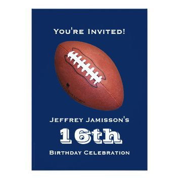 16th Birthday Party Invitation, Football Card