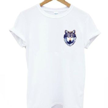 Harajuku wolf head pocket Print Women T shirt Cotton Casual Funny Shirt For Lady White Top Tee Hipster Drop Ship T-211