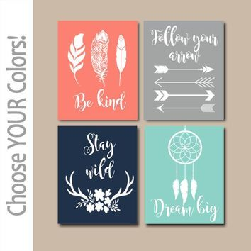 WOODLAND QUOTE Wall Art,Girl Tribal Quotes,CANVAS or Print,Be Brave Be Kind Dream Big Stay Wild,Tribal Shower,Woodland Sayings,Set of 4