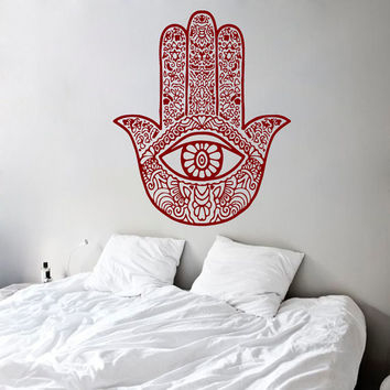 Wall Decals Fatima Hand Hamsa Indian Buddha Protection Amulet Home Vinyl Decal Sticker Kids Nursery Baby Room Decor kk613