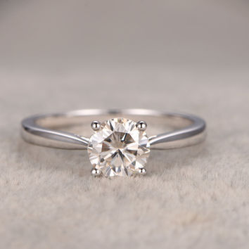 6.5mm Round Moissanite Engagement Ring Diamond Wedding Ring 14k White Gold Simple Antique Design