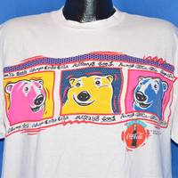 90s Coca Cola Polar Bears Puffy Paint t-shirt Large