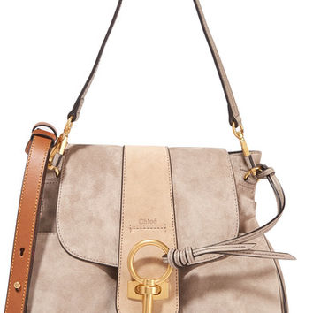 Chloé - Lexa small leather-trimmed suede shoulder bag