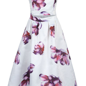 White Strapless Floral Open Belly Midi Dress