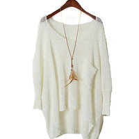 A 082201 Simple Round Neck Sweater Loose Bat Perspective-333