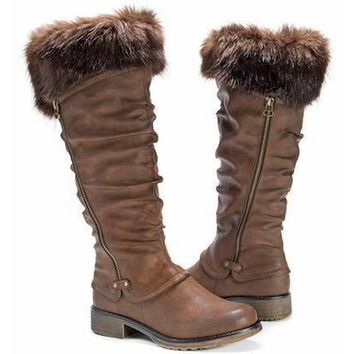Women's Muk Luks Tall Boots Weather Resistant Zip Up Knit Fashion Slipper Boots