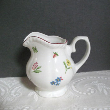 Vintage Johnson Brothers Pitcher / Creamer Staffordshire England Fleurette Floral Maroon Trim Small Pitcher
