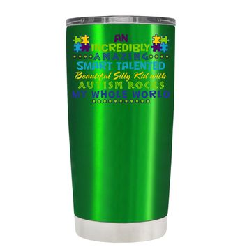 TREK An Amazing Smart Talented Kid with Autism on Translucent Green 20 oz Tumbler Cup