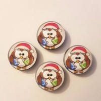 Set of 4 Glass Santa Owl Refrigerator Magnets Christmas Gift Kitchen Home Decor