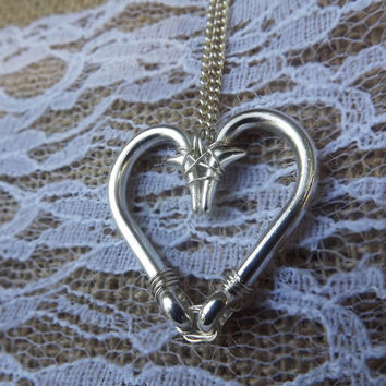 fishing hook heart necklace, wire wrapped fish hook necklace, gifts for fishers, love fishing hook, redneck jewelry, country southern,