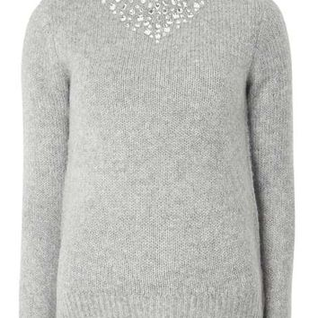Grey Embellished High Neck Jumper - Sweaters - Clothing