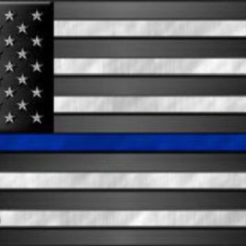 Thin Blue Line on American Flag  Plate Tag