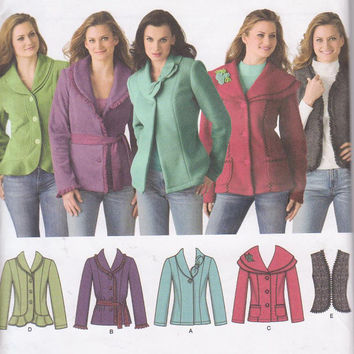 Pattern for fitted, long sleeved, fleece jackets with shawl collar or vest misses size 8 10 12 14 16 Simplicity 4032 UNCUT