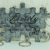Family we may not have it all together but together we have it all Set of 6 puzzle piece key chains Leather Personalized  Silver Leather