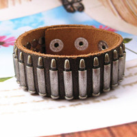 Rock  Punk Style Chocolate Leather with bullet Pendant  Women Leather Cuff Bracelet   SL0021-CO
