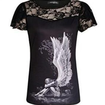 Gothic Enslaved Angel Tops Punk Rock T Shirt Lace Patchwork Floral Blouse Tee