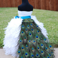 Peacock Train - Peacock Feather Bustle Tail -- Peacock Wedding - Peacock Costume