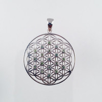 Sacred Geometry, Sterling Silver Flower of Life Pendant with Bezel Set Green Sapphires