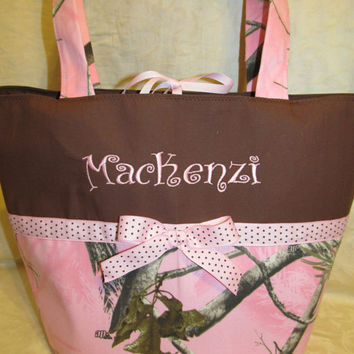 Custom Handmade Realtree pink camo camouflage diaper bag/ tote/ toddler tote/ travel bag, you choose name