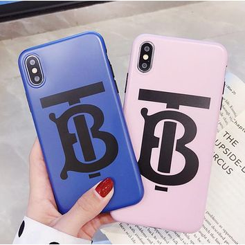 Burberry Fashion New Letter Print Women Men Phone Case Protective Cover