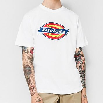 Dickies Summer Fashionable Casual Print Round Collar T-Shirt Top White