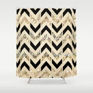 Black & Gold Glitter Herringbone Chevron on Nude Cream Shower Curtain by Tangerine-Tane