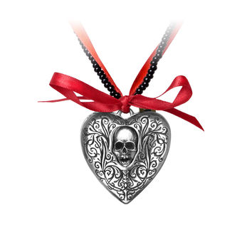 Alchemy Gothic The Reliquary Skull Heart Locket Pendant Necklace